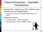 personal expenses charitable contributions