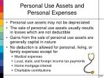 personal use assets and personal expenses