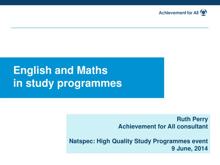 english and maths in study programmes n.