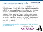 study programme requirements