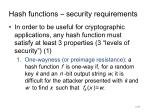 hash functions security requirements