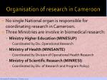 organisation of research in cameroon