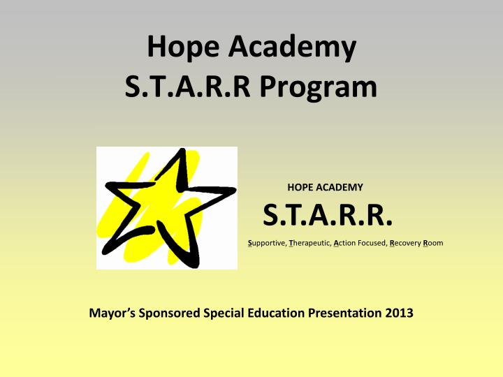 hope academy s t a r r program n.