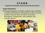 s t a r r supportive therapeutic action focused recovery room1