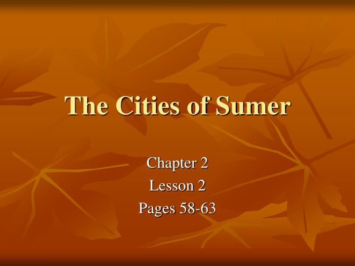 the cities of sumer n.