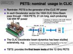 pets nominal usage in clic