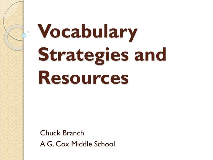 vocabulary strategies and resources n.