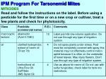 ipm program for tarsonemid mites6