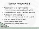 section 401 k plans