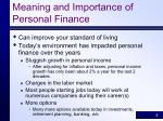 meaning and importance of personal finance