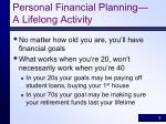 personal financial planning a lifelong activity