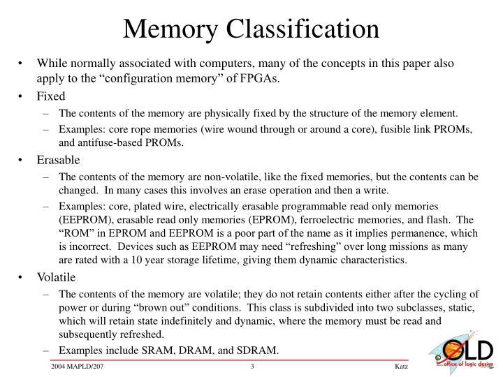 Memory classification