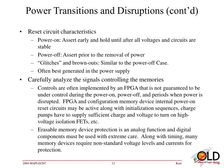 Power Transitions and Disruptions (cont'd)