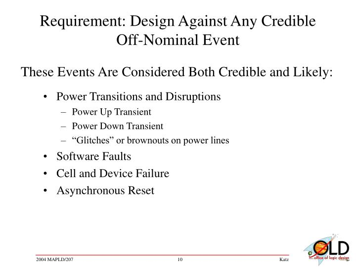 Requirement: Design Against Any Credible Off-Nominal Event