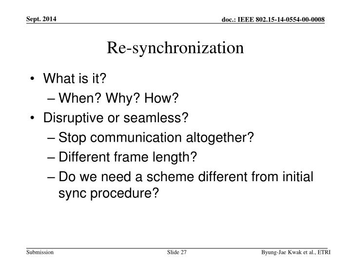 Re-synchronization