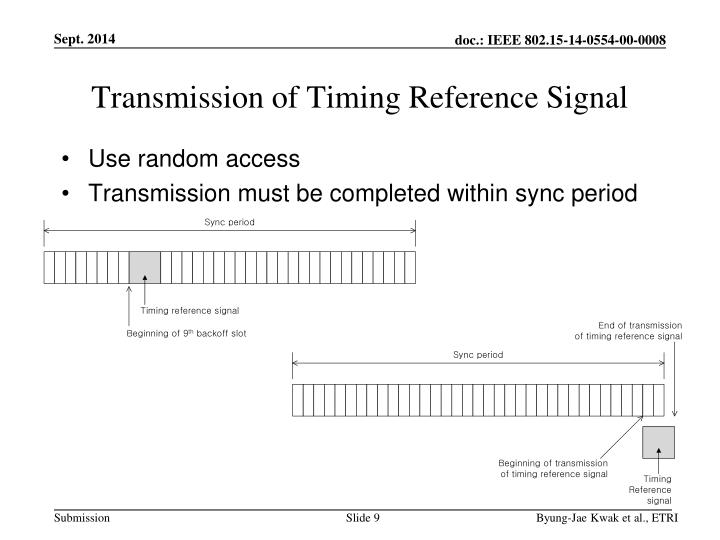 Transmission of Timing Reference Signal