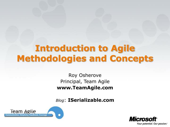 introduction to agile methodologies and concepts n.