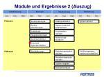 module und ergebnisse 2 auszug