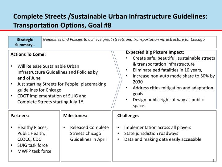 complete streets sustainable urban infrastructure guidelines transportation options goal 8 n.