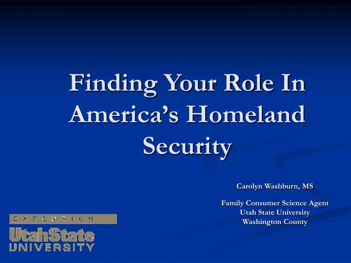 finding your role in america s homeland security n.