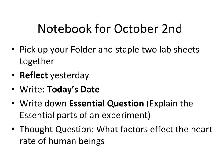notebook for october 2nd n.