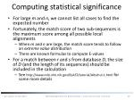 computing statistical significance