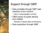 support through gbif