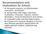 recommendations with implications for schools