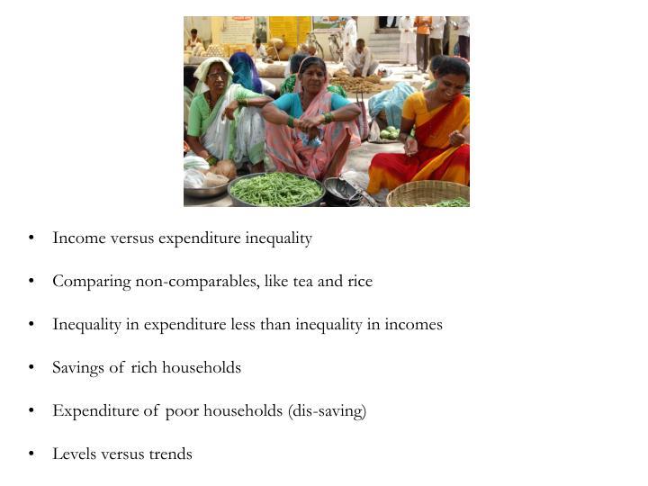 Income versus expenditure inequality
