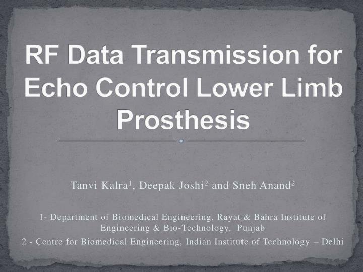 rf data transmission for echo control lower limb prosthesis n.