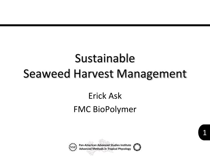 sustainable seaweed harvest management n.