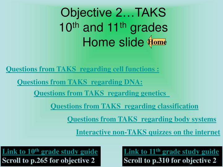 objective 2 taks 10 th and 11 th grades home slide n.