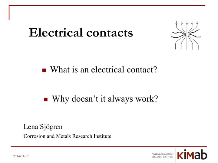 electrical contacts n.