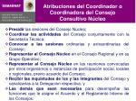 atribuciones del coordinador o coordinadora del consejo consultivo n cleo