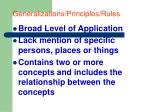 generalizations principles rules