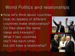 world politics and relationships