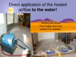 direct application of the heated airflow to the water1