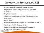 dostupnost mikro podataka rzs