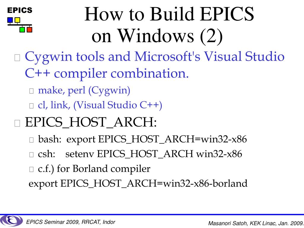 PPT - EPICS on Windows How to install and Application example with