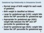 gestational age relationship to intrauterine growth