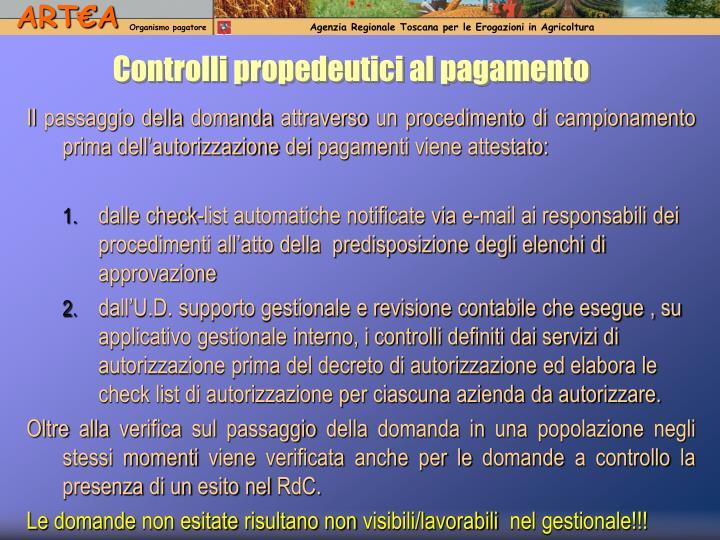 Controlli propedeutici al pagamento