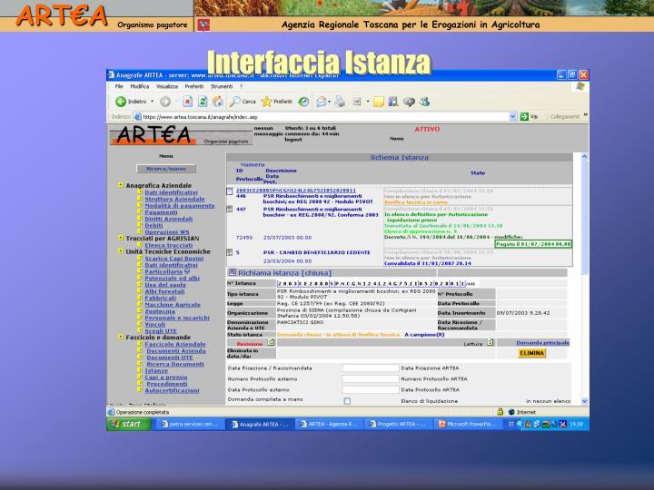 Interfaccia Istanza