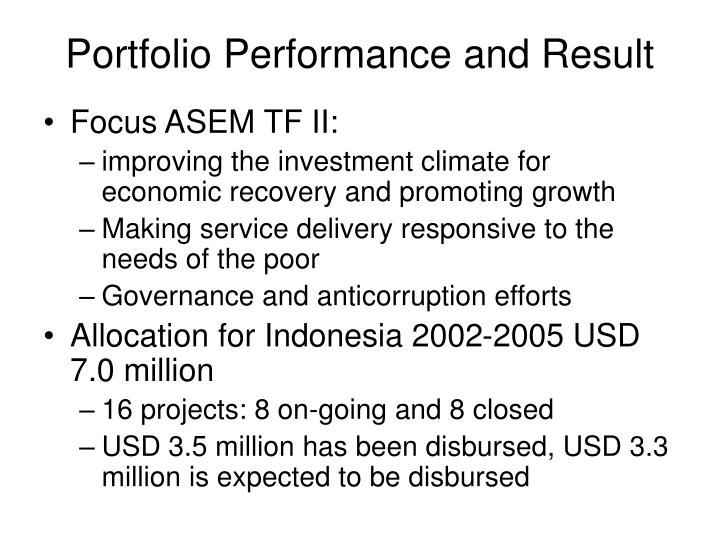 Portfolio performance and result