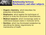 relationship between biochemistry and other subjects