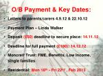 o b payment key dates