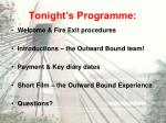 tonight s programme