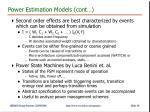 power estimation models cont
