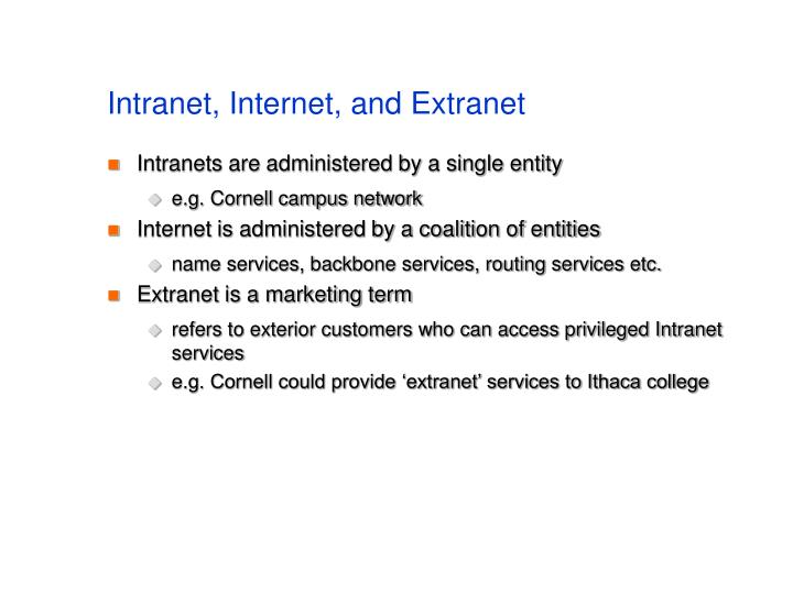 Intranet, Internet, and Extranet