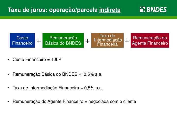 Taxa de juros: operação/parcela