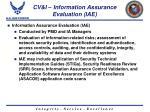 cv i information assurance evaluation iae